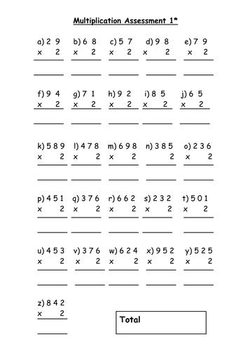 Multiplication assessment task