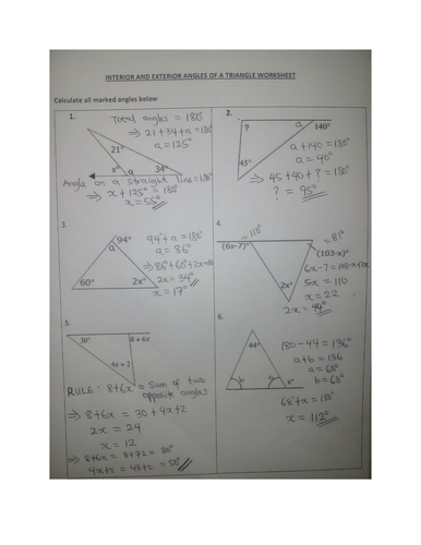 ANGLES IN TRIANGLES WORKSHEET WITH ANSWERS