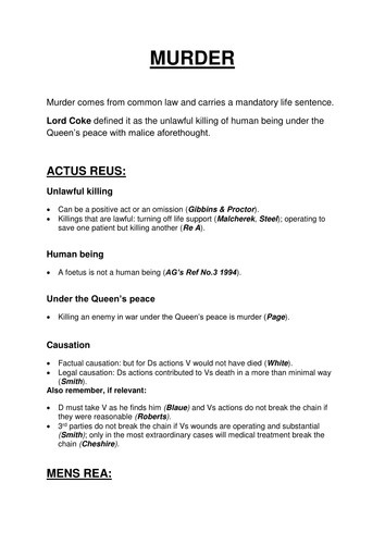 LAW 03 AQA A LEVEL HOMICIDE REVISION GUIDE/MODEL ANSWER