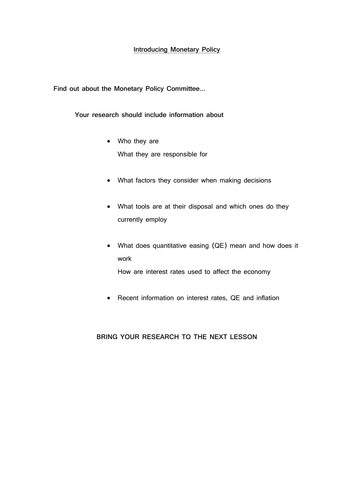 research task to find out about monetary policy