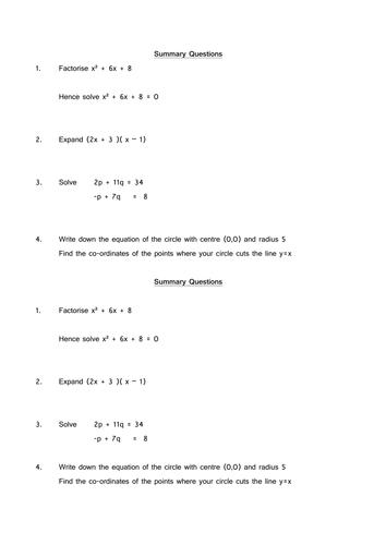 starter/plenary/ test/ homework/ revision