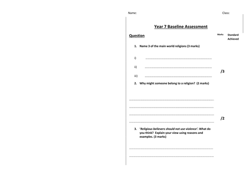 Year 7 Baseline Test for Religious Studies and Mark Scheme