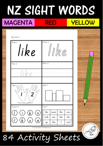 New Zealand Sight Words - Activity Sheets - Magenta, Red, Yellow
