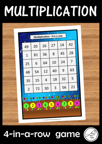 Multiplication Game - 4 in a row (alien theme)