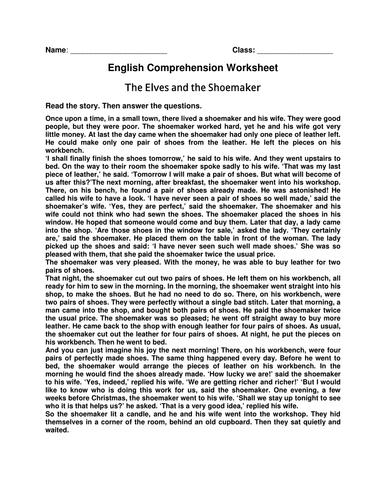 Worksheet of Comprehension 'The Elves and the Shoemaker'