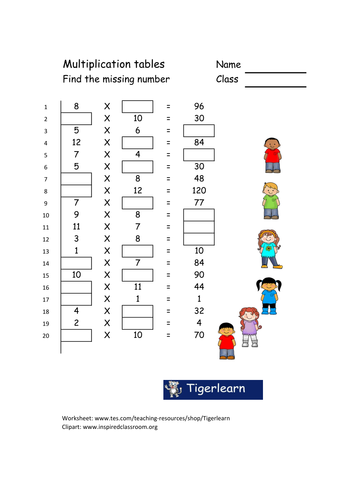 Primary numeracy worksheet/booklet - 5 pages with answers
