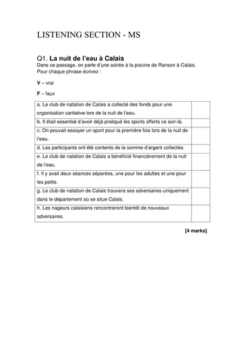 French A level Assessment of Benevolat and Patrimoine Units (listening, reading, translating)