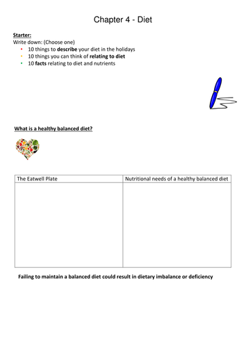 Ks3 worksheet activities to accompany bbc bitesize revision bites by gcse nutrition urtaz