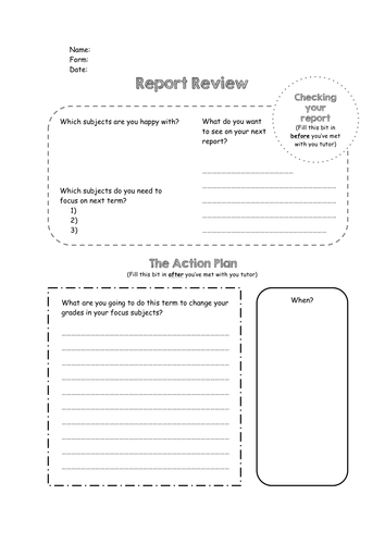 Report review form - helping students progress