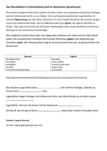 Updated NEW Year 12/13 Edexcel German: Das Musikleben in Deutschland und im deutschen Sprachraum
