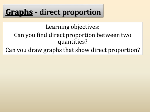 Graphs - Direct proportion