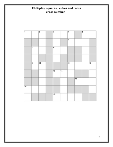 Multiples - Squares, Cubes roots - Cross Numbers Activity