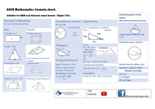 GCSE mathematics Forumal Sheet