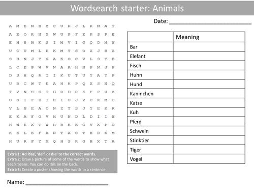 german animals keywords ks3 gcse starter activities wordsearch anagrams alphabet crossword. Black Bedroom Furniture Sets. Home Design Ideas