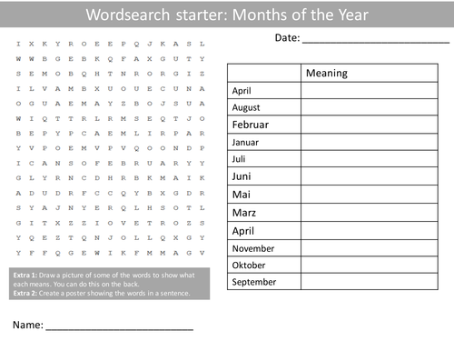 german months of the year ks3 gcse starter activities wordsearch anagrams alphabet crossword. Black Bedroom Furniture Sets. Home Design Ideas