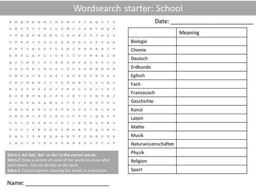 german school keywords ks3 gcse starter activities wordsearch anagrams alphabet crossword cover. Black Bedroom Furniture Sets. Home Design Ideas