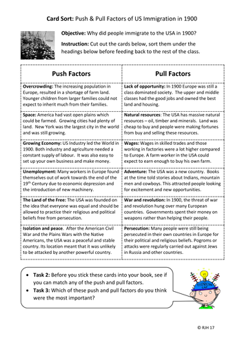 Card Sort: What were the push and pull factors to US immigration in the 1900s?