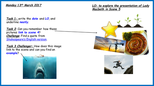 AQA 9-1 Lady Macbeth presentation Act 1 Scene 5 Low ability Year 9 (2 lessons here)