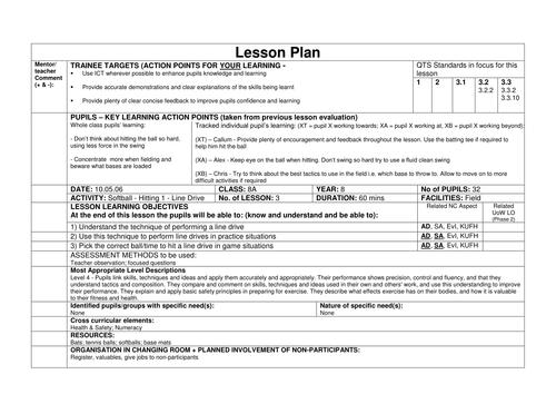 Softball Lesson Plans