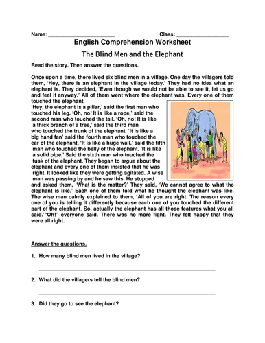 English Comprehension Worksheet 'The Blind Men and the Elephant'