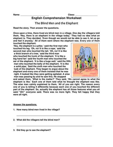 english comprehension worksheet 39 the blind men and the elephant 39 by laila masood teaching. Black Bedroom Furniture Sets. Home Design Ideas