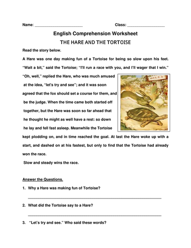 English Comprehension Worksheet 'The Hare And The Tortoise'