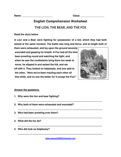 english comprehension questions