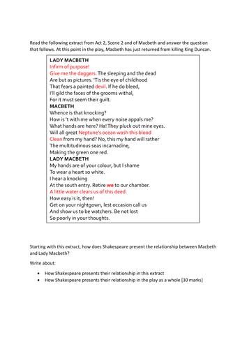 Macbeth exam mock assessment with sample answer AQA English Literature NEW 1-9 SPEC
