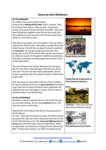 Korea by John McGahern  (from AQA GCSE new specification short story Anthology: Telling Tales)