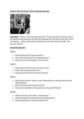 Norman MacCaig team quiz - REVISION