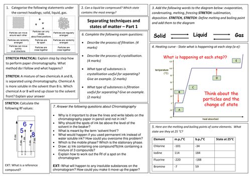 edexcel 9 1 cc1 and cc2 revision mat sheet for separating techniques and states of matter core. Black Bedroom Furniture Sets. Home Design Ideas