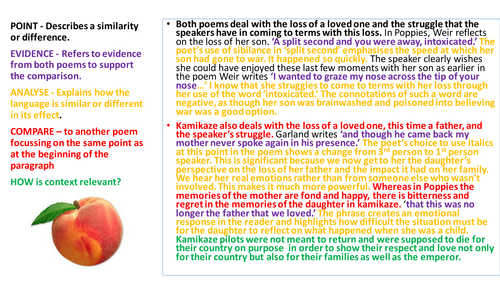 AQA Power & conflict Compare Poppies & Kamikaze New specification exam revision with structure strip