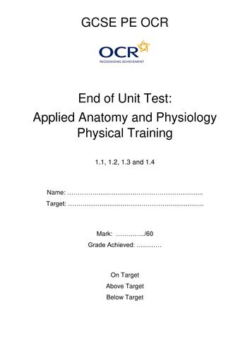 GCSE PE - OCR End of unit test for 1.1 - 1.4