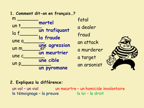 Vocabulary activity - Intro to Crime (French)