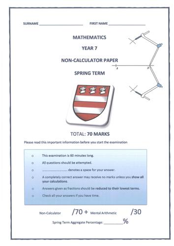 Year 7 Spring Term Mathematics Assessment Test /100