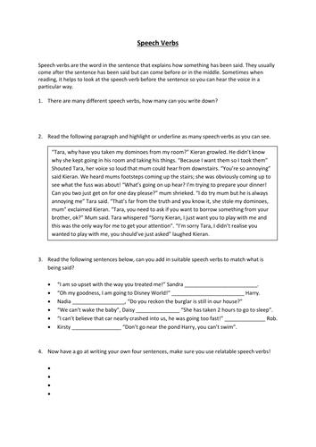 Speech Verbs Worksheet