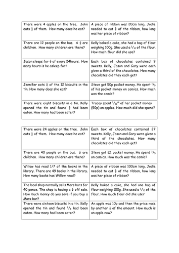 Fraction Word Problems by Flochu92 - Teaching Resources - TES