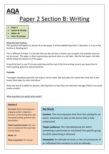 gcse aqa english language paper  section b writing  about the  gcse aqa english language paper  section b writing  about the paper  revision and tips by misscharlotteandrews  teaching resources  tes examples of proposal essays also www oppapers com essays essays written by high school students