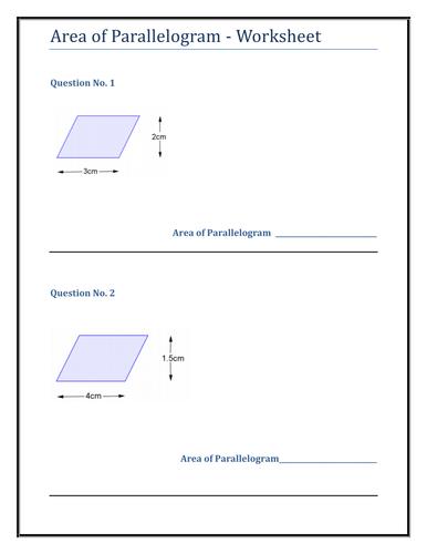 Geometry & Measure - Parallelogram Worksheet by TES_KM - Teaching ...