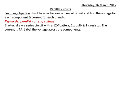 AQA Parallel Circuits