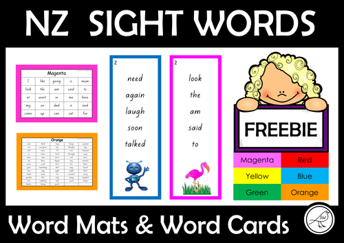 New Zealand Sight Words - FREE- word mats and word cards