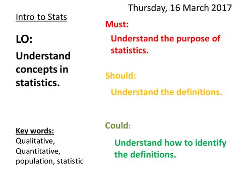 Mathematics Statistics 1 Lessons