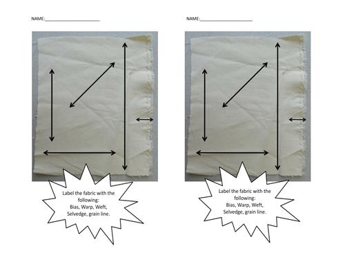 Label the fabric - Bias, warp, weft, selvedge & grainline