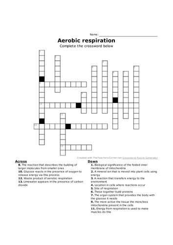 Gcse Biology Crosswords New Specification Chapter 9 Respiration Lessons 1 4 Teaching Resources