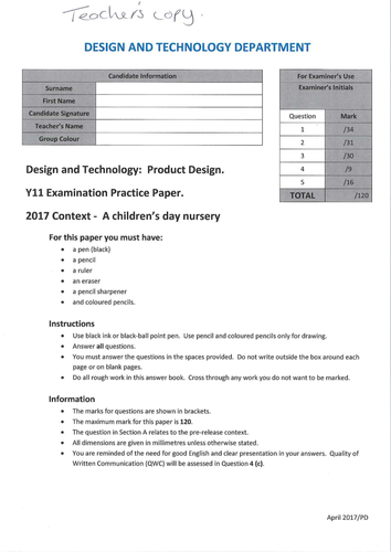 2017 AQA Product Design - A children's day nursery - Section A - Answers