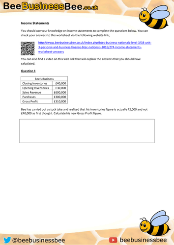 Income Statements Assessment