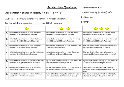 Differentiated Worksheet On Calculating Acceleration