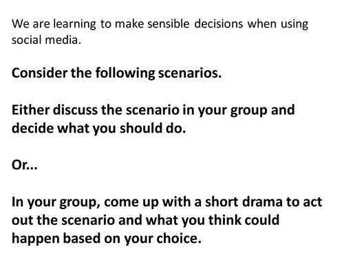 E-Safety/Social Media scenarios for discussion/drama