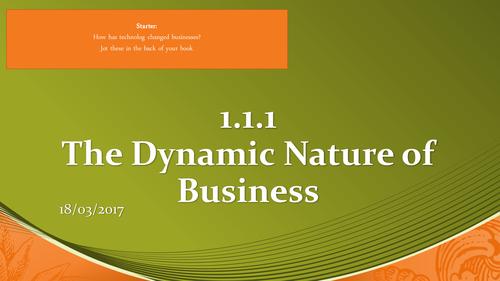 Edexcel Business (9-1) Unit 1:- 1.1.1 The Dynamic Nature of Business/ Enterprise and Entrepreneurs