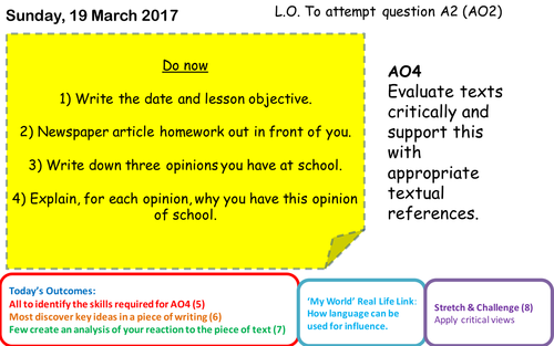 Eduqas GCSE English Language Non Fiction Component 2 A4 question